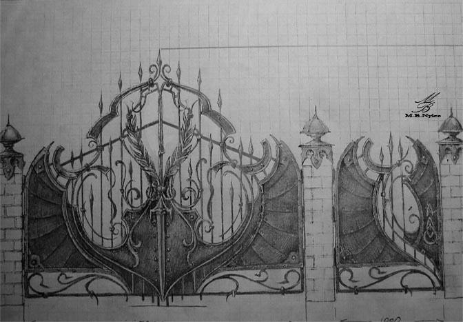 Brama designerska z mieczem - projekt